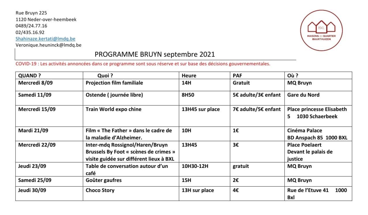 Septembre à la Maison de Quartier Bruyn