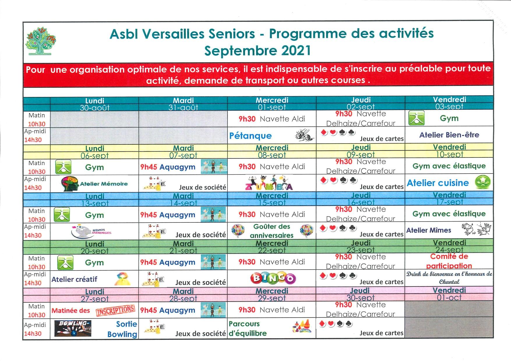Programme de septembre du centre de jour Asbl Versailles Seniors