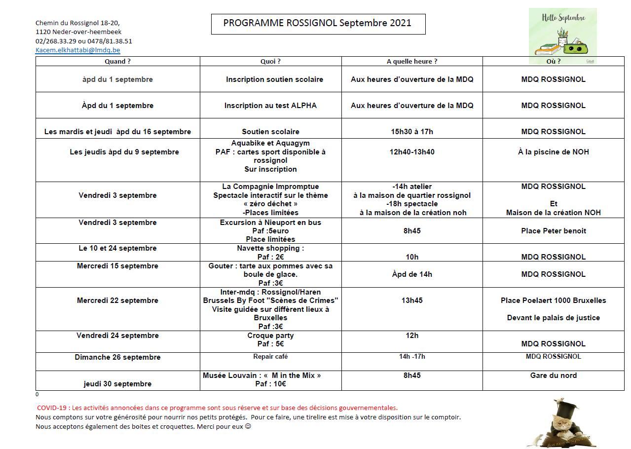 Programme du Rossignol pour septembre