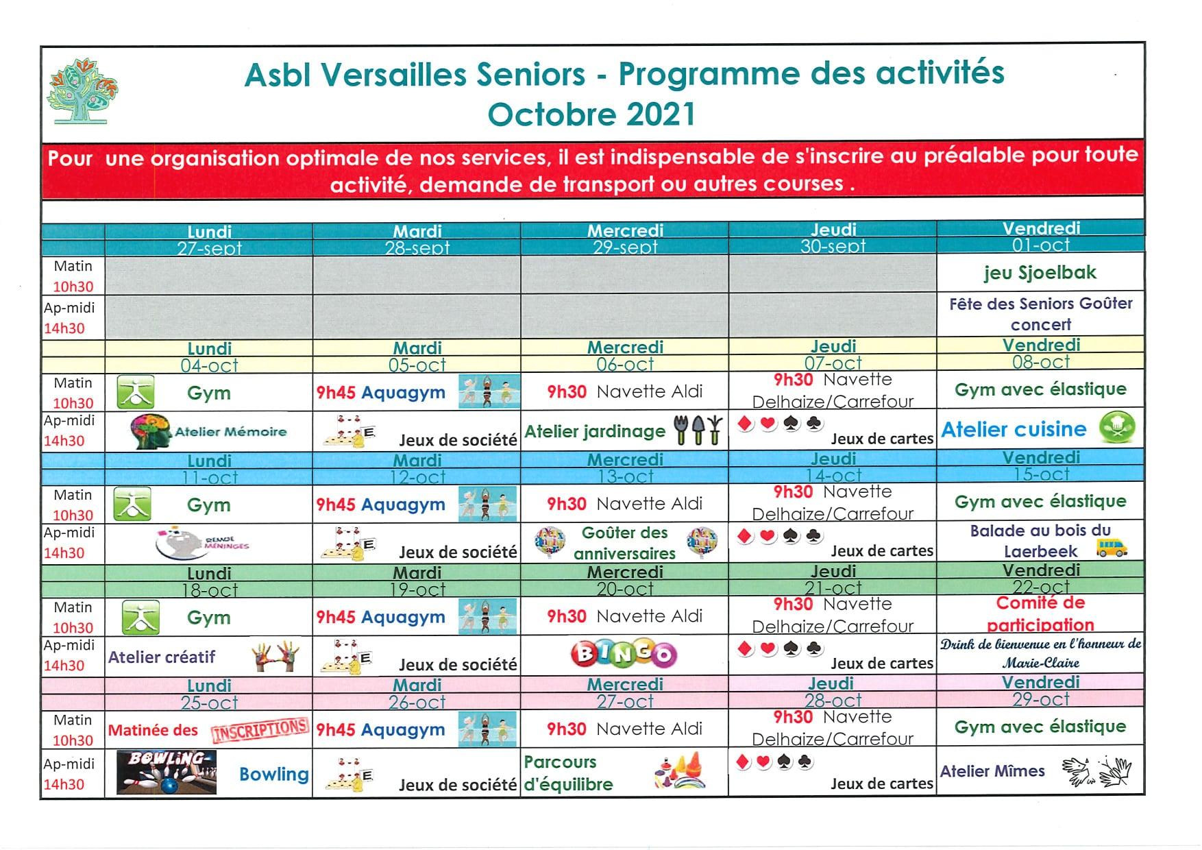 Programme d'octobre de Versailles Seniors